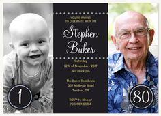 DIY print birthday invites adult 80th birthday invitation surprise