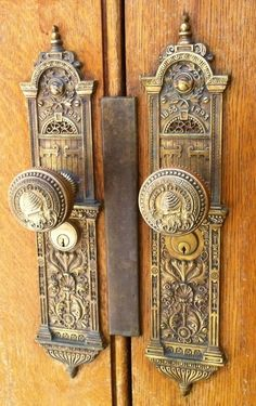 Pair of Antique Bronze Locksets with Elaborate Backplates and Knobs, ca. 1853