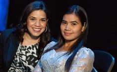 'Ugly Betty' actor America Ferrera with Tep Vanny, who was given a Vital Voices Global Leadership Award for her campaigning against forced evictions in Cambodia.