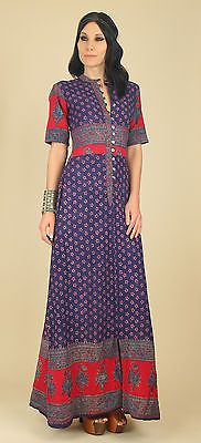 VtG 60's 70's Indian Cotton Hand Block Printed Maxi Dress India HiPPiE BoHo M