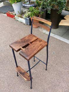 reform steel frame barstool/ walnut/ butterfly inlay