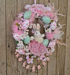 Easter Wreaths for Front Door Easter Decorations Easter Egg Easter Garland, Easter Wreaths, Easter Decor, Bunny Nursery, Nursery Decor, Etsy Vintage, Vintage Shops, Easter Eggs, Easter Bunny