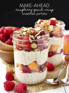Make-Ahead Raspberry-Peach Crisp Breakfast Parfaits