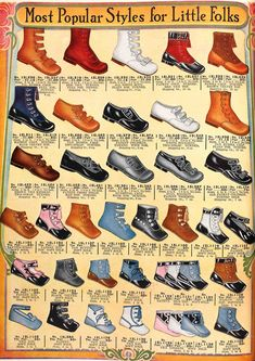 A page of fashionable childrens' shoes from the Spring 1913 Sears catalog.