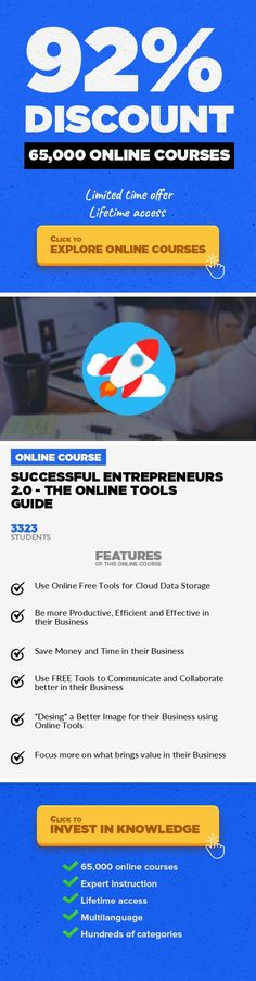 Successful Entrepreneurs 2.0 - The Online Tools Guide Entrepreneurship, Business #onlinecourses #jobskills #EducationCourses  Discover the main online tools that thousands of successful entrepreneurs are using for their businesses! Being an entrepreneur in the new digitalized economy can be a really challenging task for anyone, even for serial entrepreneurs with years of experience online. Things ...