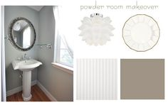 Pretty bathroom colors ... also, like faux-wainscoting wallpaper