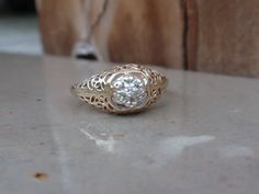 Diamond Filigree Ring 10k cluster yellow by LuceesTreasureChest