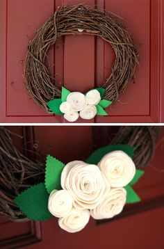 diy grapevine felt rose wreath
