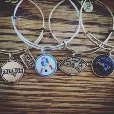 PATRIOTS Charm bangles | ALEX AND ANi  I got the sliver football Logo today for Christmas   Ordered  a  Pats Elvis logo for myself