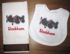 Monogrammed Airplane Burp Cloth and Bib  Gift Set for Baby Boy. $22.00, via Etsy.