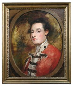 Circle of Sir Joshua Reynolds (British, 1723-1792) -   Portrait of Sir Richard Worsley, 7th Bt, in the uniform of the South Hampshire Militia,   oil on canvas, in a painted feigned oval,  h:59 w:49 cm
