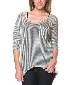 Loving this Celeste Gray Stripe Hi-Low Top on #zulily! #zulilyfinds
