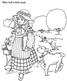 Mary Had A Little Lamb And Walking With Her Online ColoringLambColoring PagesQuote