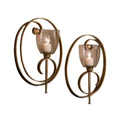 antique gold oval scroll candle wall sconce set of 2 candle holders home d
