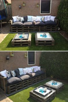 Pallets Old Give old pallets a new life by turning them into patio furniture! - Turn pallets into a beautiful furniture set for your patio / outdoor living area. Pallet Patio Furniture, Garden Furniture, Outdoor Furniture Sets, Outdoor Decor, Pallet Couch, Outdoor Pallet, Pallet Seating, Outdoor Seating, Diy Pallet