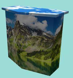 Balie gehoekt van 16 mm dik #Karton. Naar wens geheel te bedrukken voor een optimale presentatie. Karton Design