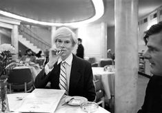 Robert Levin, Andy Warhol seated at a table at the Pierre Hotel in New York City Photo: courtesy Maison Gerard.