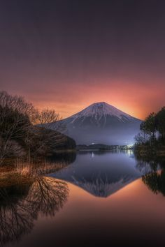 Mt Fuji, Japan.  Pink glow in the morning sky by 02q