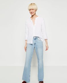 LINEN SHIRT WITH LACE TRIM DETAIL-View All-TOPS-WOMAN   ZARA United Arab Emirates