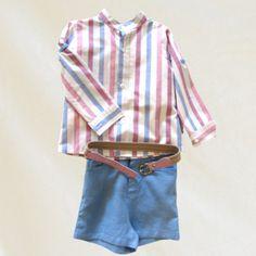 Conjunto niño: camisa blanca,celeste y rosa + pantalón celeste + cinturón