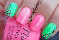 purple neon leopard nails | pink green leopard shimmer summer nails » Favnails
