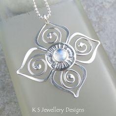 Rainbow Moonstone Sterling Silver Flower Pendant - Swirl Blossom - Handmade £50.00