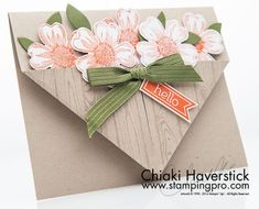 Brought back an old card design (pocket card) with a couple of my favorite stamp sets. Hardwood, Flower Shop and Perfect Pennants stamp sets: Tangelo Twist, Mossy Meadow and Crumb Cake inkpads and car