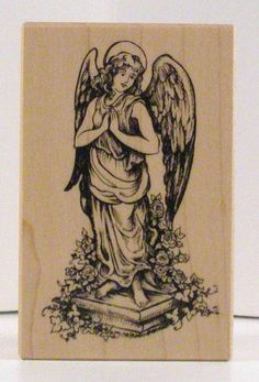 Garden Angel Statue on Pedestal rubber stamp PSX by PollysPlace, $18.99