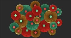 3D green red gold paper model - TurboSquid 1509846 Paper Fan Decorations, 3ds Max Models, Real Model, Paper Fans, Gold Paper, Paper Models, Red Gold, All The Colors, Geometry