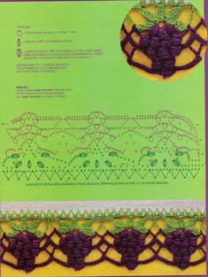 As Receitas de Crochê: Barra de crochê cacho uvas para pano de prato