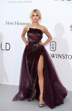 Hailey Baldwin in Elie Saab Haute Couture at AmFar Gala 2017