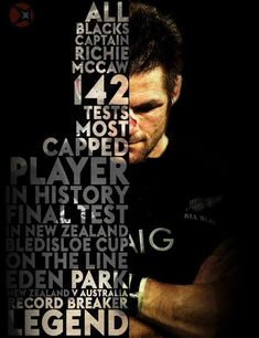 Richard Hugh (Richie) McCaw ONZ (born 31 December is a retired New Zealand rugby union player. He captained the national team, the All Blacks, in 110 out of his 148 test matches, and won two Rugby World Cups. Rugby Sport, Rugby 7's, All Blacks Rugby Team, Nz All Blacks, Rugby Club, Richie Mccaw, Rugby League, Rugby Players, Rugby Wallpaper