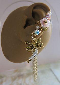 Pure Fairy Ear Cuff White Fantasy Fae Faerie Fay Realm Pixie Gold Feminine Dangle. $48.00, via Etsy.