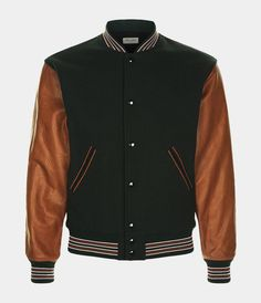 Navy Bomber Jackets With Leather Sleeve