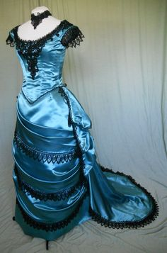 Victorian Style Bustled Ball Gown in Teal Satin with Black Lace, via Etsy.