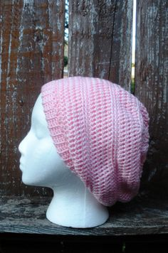 Pretty Pink Crochet Slouchy Tam Beanie Hat ready to by luvbuzz,