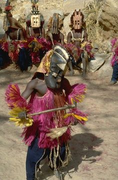 Dogon Masked Dancers Dogon County in Mali, West Africa