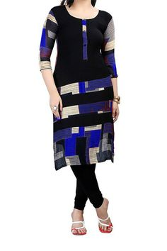 Designer Party Wear Stylish Black n Blue Kurti