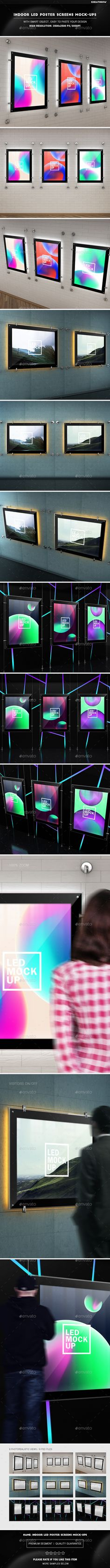 Indoor Led Poster Screens MockUps — Photoshop PSD #professional #presentation • Available here → https://graphicriver.net/item/indoor-advertizing-led-poster-screens-mockups/12050683?ref=pxcr