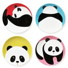 Playful pandas decorate these fun dishes to showcase snacks and sweet treats in uniquely sweet style. Includes four diameterCeramicDishwasher- and microwave-safeMade in Japan Panda Decorations, Painted Ceramic Plates, Japanese Plates, Birthday Plate, Paint Your Own Pottery, Cute Panda, Panda Panda, Diy Presents, Plate Design