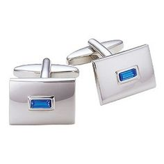 Men's Cufflinks silver with saphire