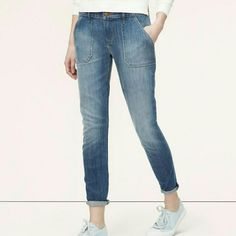 Loft Relaxed Skinny Cropped Utility Jean's Never worn with tags size 10 Loft cropped jeans! LOFT Jeans Ankle & Cropped