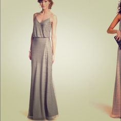 Adrianna Papell silent grey dress Floor length gray/beaded gown in a size 8. (Originally a size 10 tailored). It fits great for someone who where's a size 6 or 8 in dresses Adrianna Papell Dresses