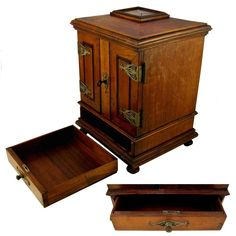 Antique Victorian 19c Hand Carved Cigar Caddy Chest, Lockable Front Doors & Drawer