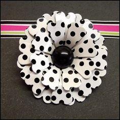 Vintage Black Polka Dot | Vintage Flower Pin Big Black White Polka Dot Brooch (15237)