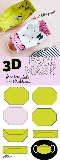 3d mask template - the most comfortable face mask - see kate sew Easy Face Masks, Best Face Mask, Diy Face Mask, Sewing Hacks, Sewing Projects, Sewing Crafts, Sewing Elastic, Homemade Mask, Mask Template
