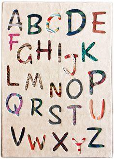 modernrugs.com Alphabets Tan Modern Kids Rug