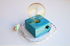 Turquoise Blue Vintage handmade wooden design table lamp with Edison bulb and dimmer