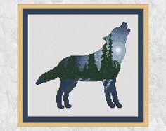 Wolf cross stitch pattern modern forest counted cross stitch