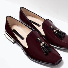 {zara patent tassel slippers in burgundy - under $60}